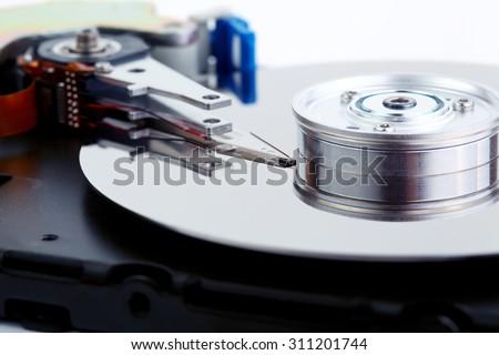 Open hard disc drive macro photo - stock photo