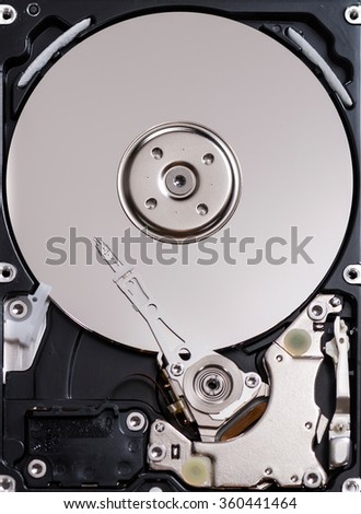 Open Hard Disk Drive (detailed close-up shot) - stock photo