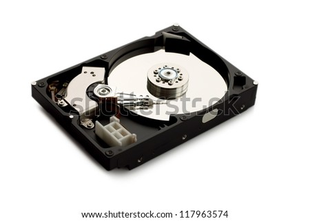 Open hard disk isolated on white background