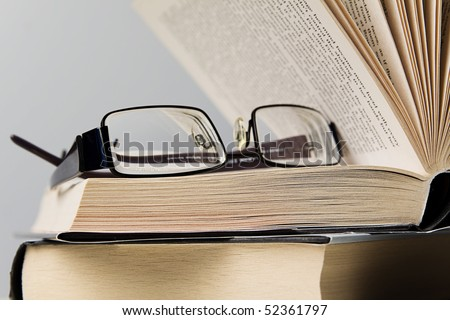 Open hardcover book - stock photo