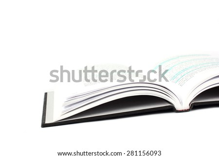 Open hardcover book with highlighted text