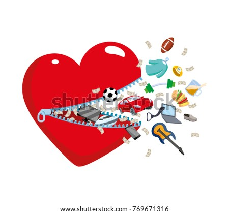 Open Heart Zipper Which Fly Symbols Stock Illustration 769671316