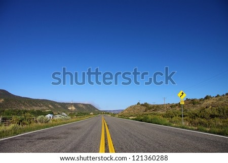 Open highway in North America on a beautiful sunny day - stock photo
