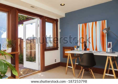 Open home office door - stock photo