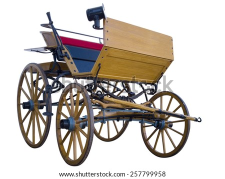 Open horse-drawn carriage low position - stock photo