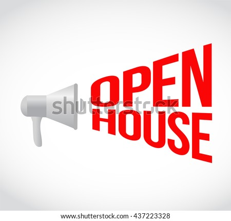 open house megaphone message. illustration design graphic - stock photo