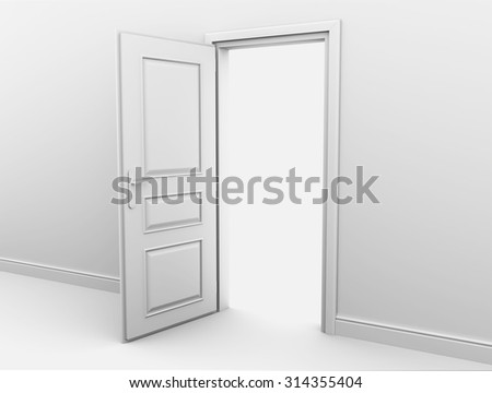 Open interior doors in a white abyss. 3d render