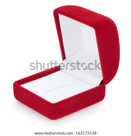 Open jewelry box, isolated on the white background, clipping path included. - stock photo
