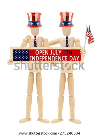 Open July 4th Independence Day sign Mannequin wearing patriotic hats, ties holding flags Arm on Shoulder isolated on white background  - stock photo