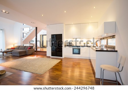 Open kitchen and drawing room in luxury mansion - stock photo