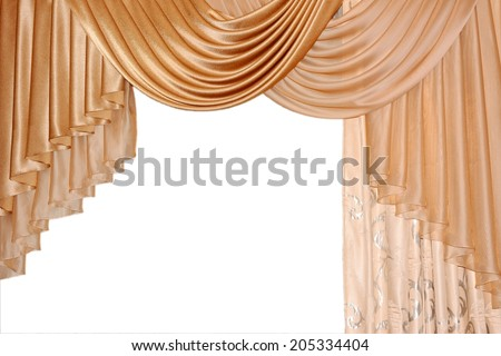 Open lambrequin (portiere, curtain) golden color on the window. Classic interior decoration indoor openings lambrequins back into fashion. .. - stock photo