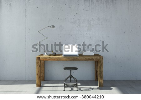 Open laptop computer on desk in office with concrete wall (3D Rendering) - stock photo
