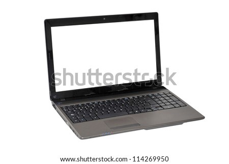 Open laptop computer with a blank display. new technologies concept