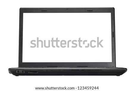 Open laptop isolated on a white background - stock photo