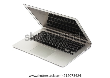 Open Laptop isolated on white  - stock photo