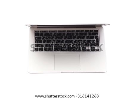 Open Laptop isolated on white background - stock photo
