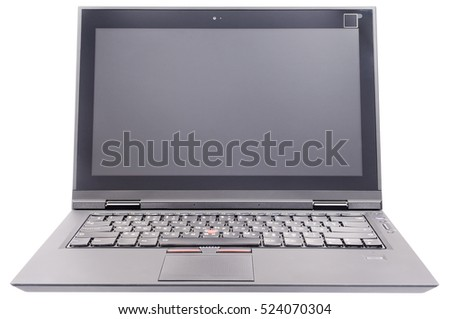 Open laptop (notebook) front view isolated on the white background