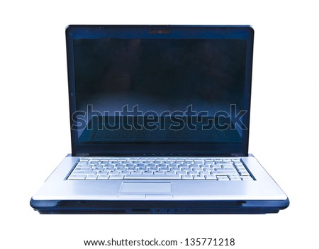 Open Laptop (notebook) isolated on the white background  Copy space on a black screen - stock photo