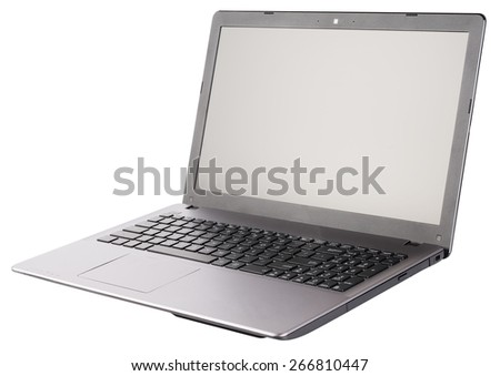 Open laptop (notebook) isometric view, isolated on the white background
