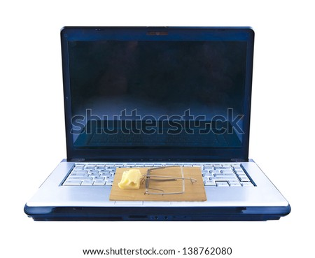Open Laptop (notebook) with mousetrap isolated on the white background  Copy space on a black screen