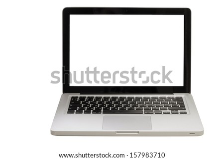 open laptop on a white background - stock photo