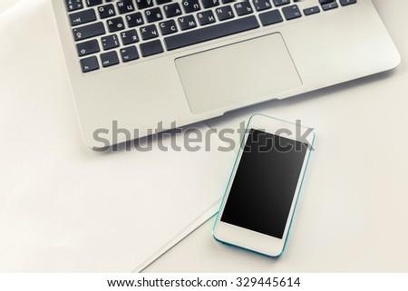 Open laptop on desk - stock photo