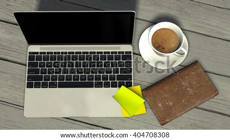 open laptop with coffee cup and book  on old wooden table  - 3d rendering