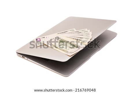 Open Laptop With Dollars  money - stock photo