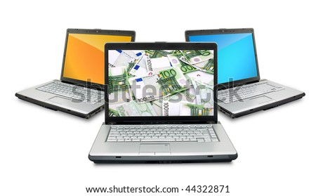 Open laptops with money  isolated on white background