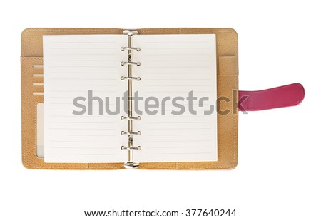 Open leather notebook isolated on white background.