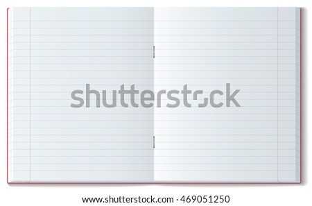 Open line notebook with soft shadow. Classic school copy book with realistic dimensions
