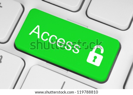 Open lock green button on the keyboard, access concept - stock photo