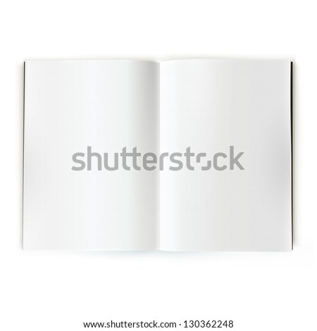 Open magazine double-page spread with blank pages. - stock photo