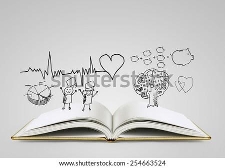 Open magic book - stock photo