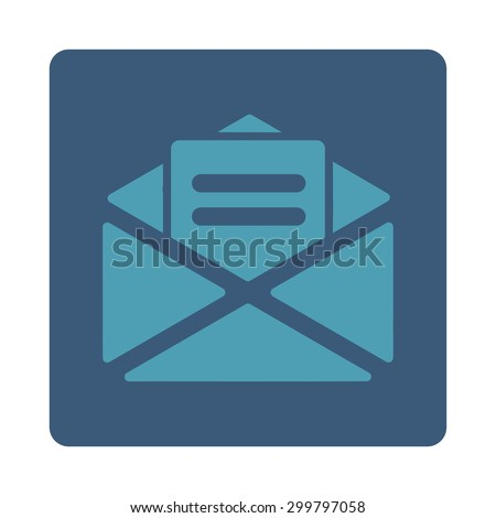Open mail icon. Glyph style is cyan and blue colors, flat rounded square button on a white background. - stock photo