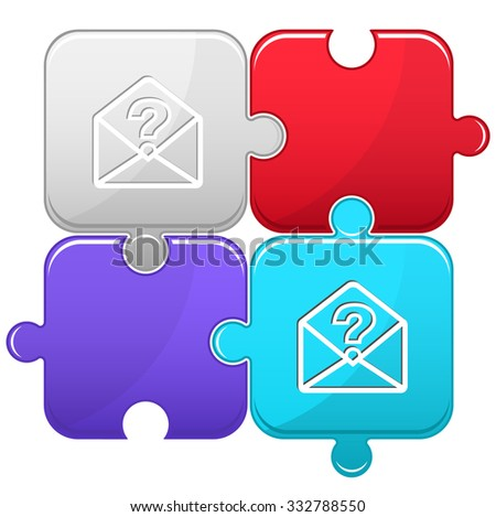 open mail with query sign. Raster puzzle. - stock photo