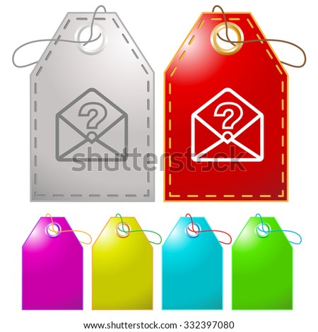 open mail with query sign. Raster tags. - stock photo