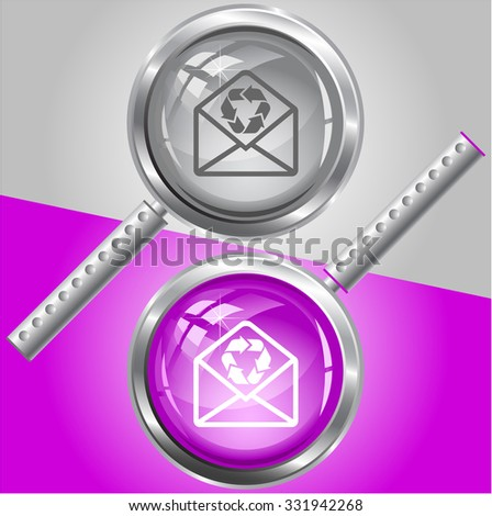 open mail with recycle symbol. Raster magnifying glass. - stock photo