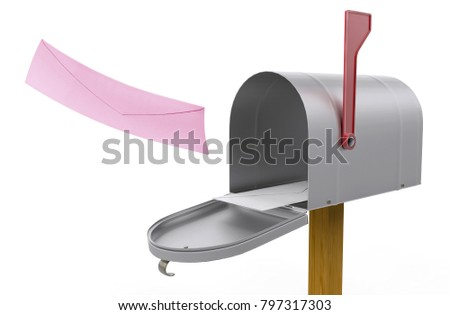 open mailbox. Open Mailbox And Received Fly Red Envelope In Box Isolated On White Background. Close Up D