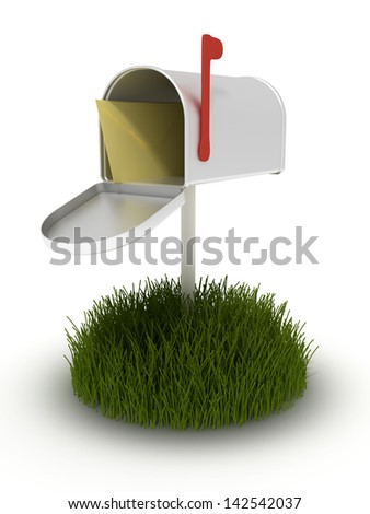 Open mailbox on a patch of grass.