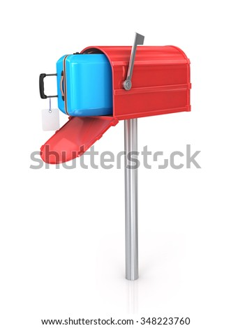 Open mailbox with a suitcase isolated on white background