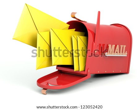 Open mailbox with  letters. 3D model isolated on white background - stock photo
