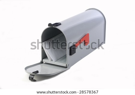 open mailbox with some letters in it - stock photo