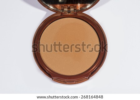 open Make-up powder in box on white background - stock photo