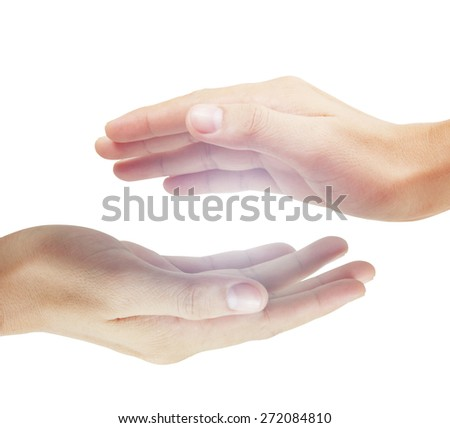 Open Man hand sign isolated  - stock photo