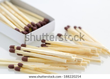 Open matchbox with some matches on a white table  - stock photo