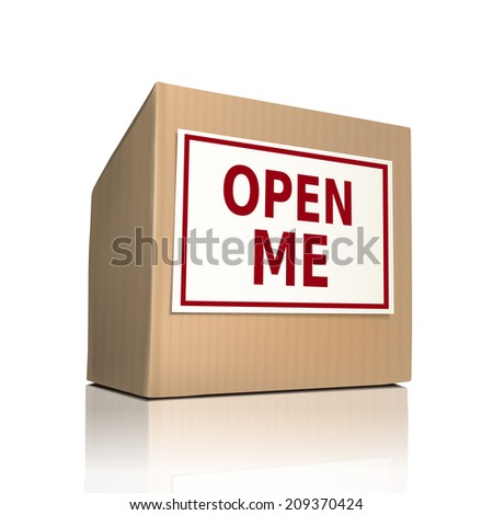open me on a paper box over white background - stock photo