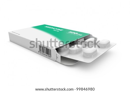 Open medicine packet labelled medicine opened at one end to display a blister pack of white tablets, illustration on white - stock photo