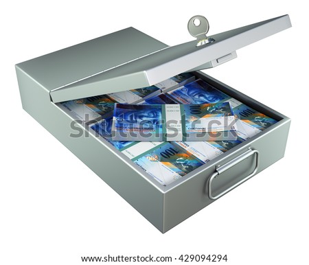 Open metal bank safety deposit box with swiss francs isolated on white background - 3D illustration - stock photo