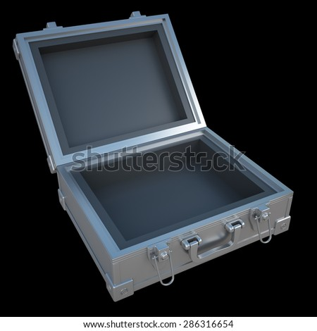 Open metal case isolated on black background. High resolution 3d